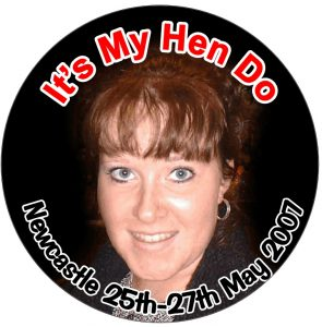 hens night badge with photo