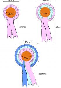 custom rosette sizes